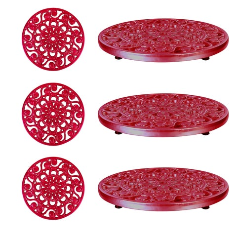 Set of 3 Decorative Cast Iron Metal Trivets by Trademark Innovations (Red)