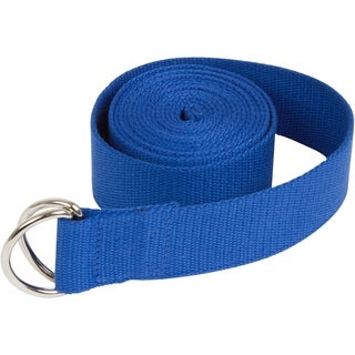 8' Durable Cotton Yoga Strap with Metal D Ring by Trademark Innovations (Blue)
