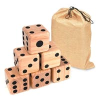 """Giant Wood Yard Dice - Each Die 3.5"""" -  with Carry Bag by Trademark Innovations (Black Dots) - Brown"""