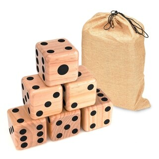 "Giant Wood Yard Dice - Each Die 3.5"" - with Carry Bag by Trademark Innovations (Black Dots) - Brown"