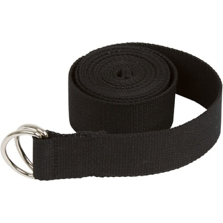 8' Durable Cotton Yoga Strap with Metal D Ring by Trademark Innovations (Black)
