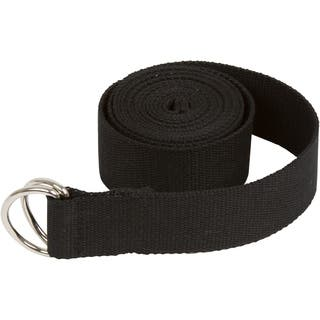 8' Durable Cotton Yoga Strap with Metal D Ring by Trademark Innovations (Black)|https://ak1.ostkcdn.com/images/products/18104718/P24261340.jpg?impolicy=medium