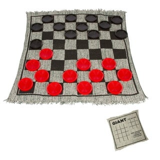"25"" Square Giant Checkers Game Rug by Trademark Innovations - Black"