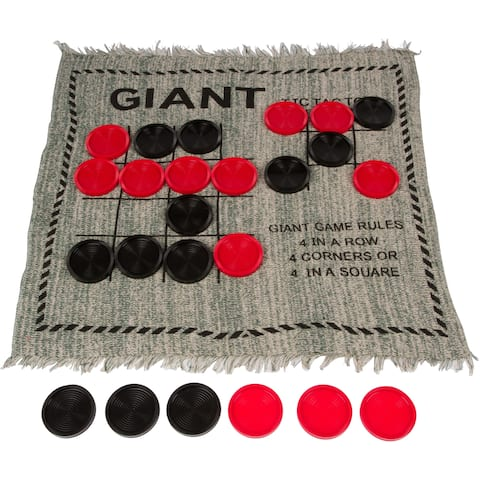 """25"""" Square Giant Tic Tac Toe Reversible Game Rug by Trademark Innovations - Black"""