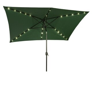 Rectangular Solar Powered LED Lighted Patio Umbrella   10u0027 X 6.5u0027   By  Trademark