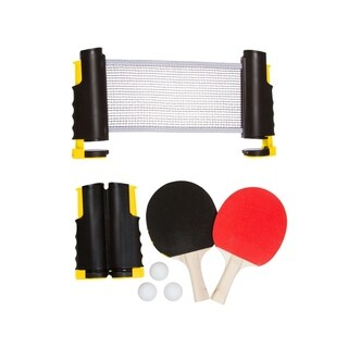 Anywhere Table Tennis Set with Paddles & Balls by Trademark Innovations (Yellow)