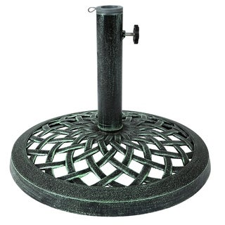Cast Iron Umbrella Base - 17.7 Inch Diameter by Trademark Innovations (Green)