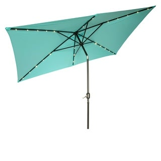 Rectangular Solar Powered LED Lighted Patio Umbrella - 10' x 6.5' - By Trademark Innovations (Teal)