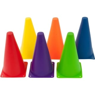 Plastic Cone -6 Pack - Sports Training Gear By Trademark Innovations (9 Inch, Mixed Colors)