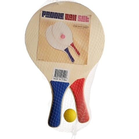 Paddle Ball Beach Ball Game - Wooden Set of 2 Paddles and Ball - By Trademark Innovations (Blue & Red Paddles)