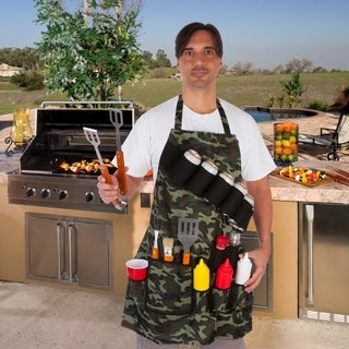Grill Master Grill Apron and Accessory - Holds Beverages and Tools By EZ Drinker (Camouflage)