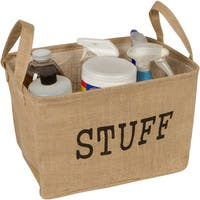 """14.5"""" Jute Storage Basket with Handles and Protective Lining by Trademark Innovations"""