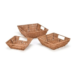 Set of 3 Square Wicker Look Baskets With Built In Handles by Trademark Innovations