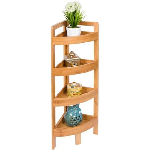 "31.5"" 4 Tier Bamboo Corner Storage Shelf By Trademark Innovations"