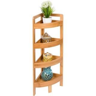"31.5"" 4 Tier Bamboo Corner Storage Shelf By Trademark Innovations|https://ak1.ostkcdn.com/images/products/18104843/P24261509.jpg?impolicy=medium"