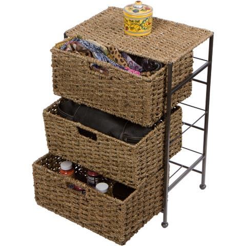 """24"""" Seagrass and Metal 3-Drawer Storage Chest Side Table by Trademark Innovations"""
