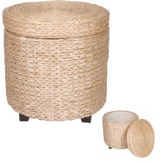 "17"" Round Storage Ottoman Footstool - Wood and Woven Rush Grass by Trademark Innovations"