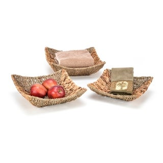 Set of 3 Square Hyacinth and Seagrass Baskets with Iron Wire Frame by Trademark Innovations