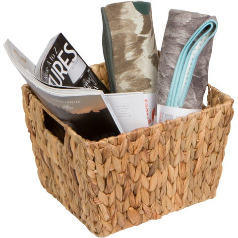 """11.5"""" Hyacinth Storage Basket with Handles, Rectangular, by Trademark Innovations"""