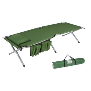 """75"""" Portable Folding Camping Bed & Cot With Pillow & Side Storage Pocket By Trademark Innovations (Army Green)"""