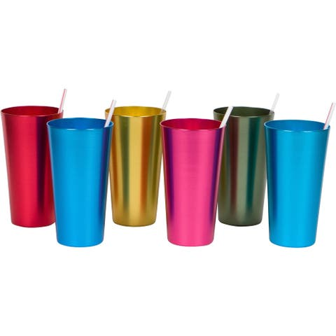 20 oz. Retro Aluminum Tumblers - 6 cups - By Trademark Innovations (Assorted Colors)
