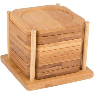 "3.5"" Square 100% Natural Bamboo Coaster - Set of 6 with Holder By Trademark Innovations"