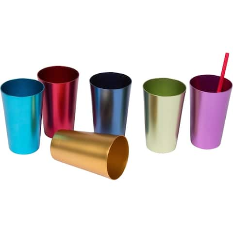 Retro Aluminum Tumblers - 6 cups - 14 oz. - By Trademark Innovations (Assorted Colors)
