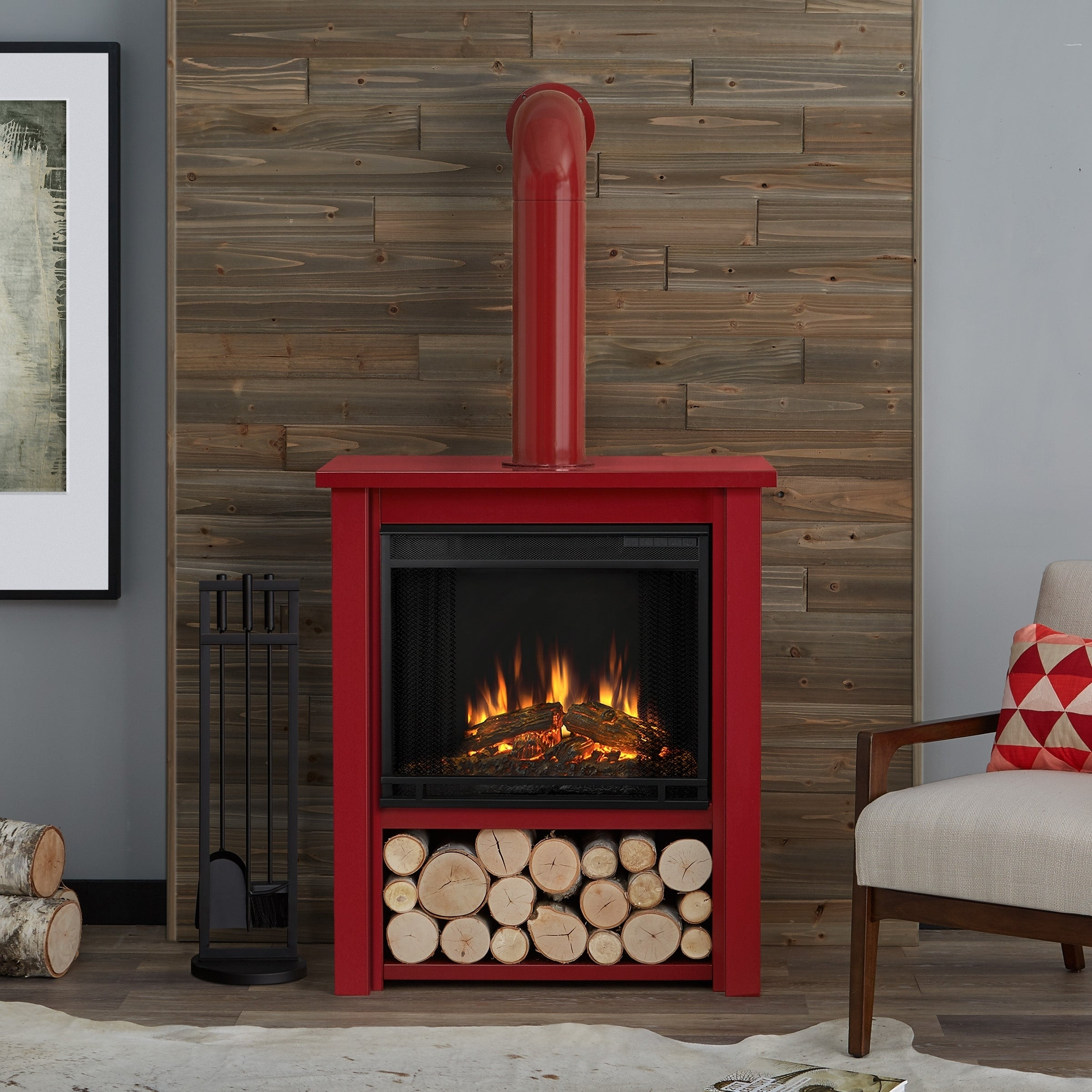 This electric fireplace uses a 1