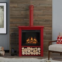 Real Flame Hollis Electric Fireplace Red