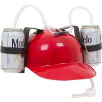 Beer & Soda Guzzler Helmet - Drinking Hat By EZ Drinker (Red)