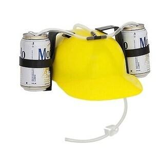 Beer & Soda Guzzler Helmet - Drinking Hat By EZ Drinker (Yellow)