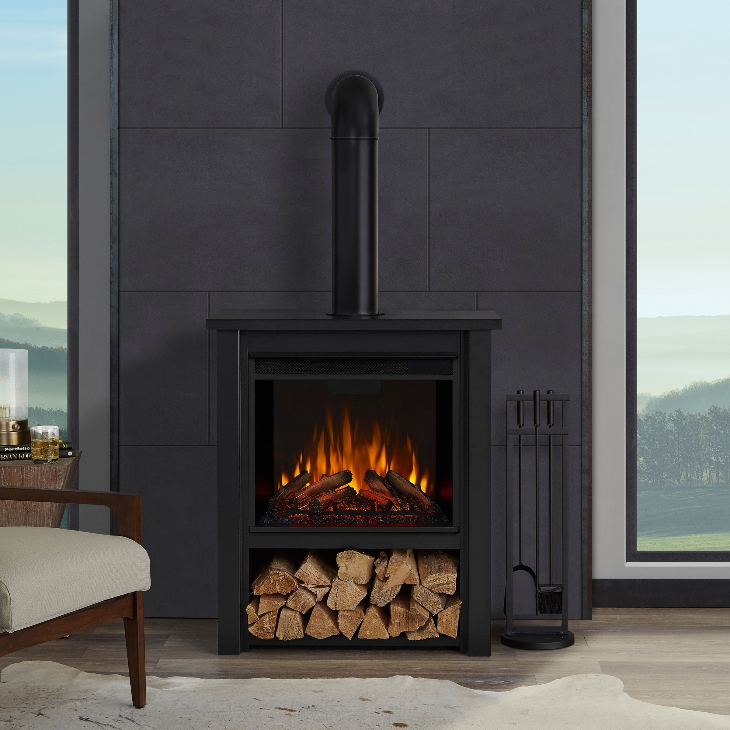 Real Flame Hollis Black Steel 17-inch Wide x 32-inch Long Electric Fireplace | eBay