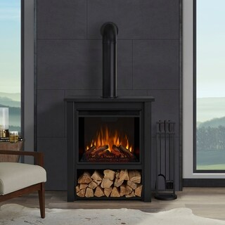 Real Flame Hollis Black Steel 17-inch Wide x 32-inch Long Electric Fireplace