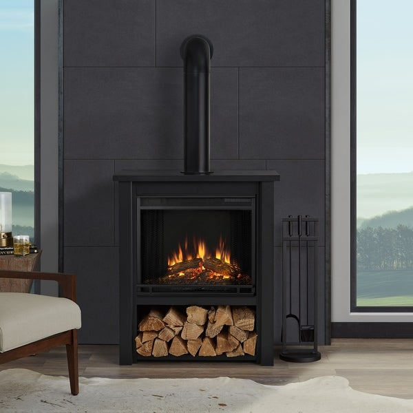 product parsons bbaa electric home flame garden shipping real overstock x h fireplace w oak l chestnut free