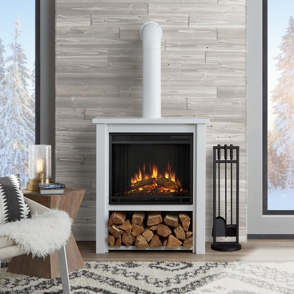 shipping product x flame free today garden w electric home overstock real l black fireplace hollis