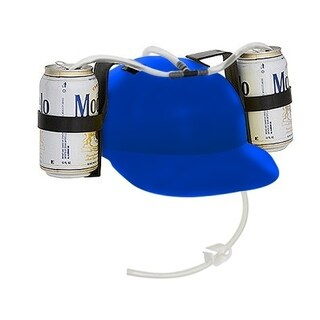 Beer & Soda Guzzler Helmet - Drinking Hat By EZ Drinker (Blue)