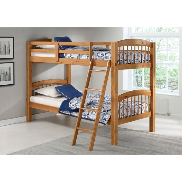 Shop Spindle Twin Over Twin Bunk Bed Cinnamon On Sale Free