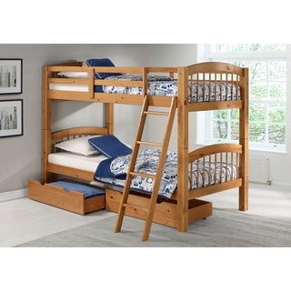 Spindle Twin Over Twin Bunk Bed with Storage Drawers, Cinnamon