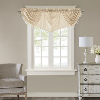 Madison Park Enise Faux Silk Beaded Trim Imperial Valance