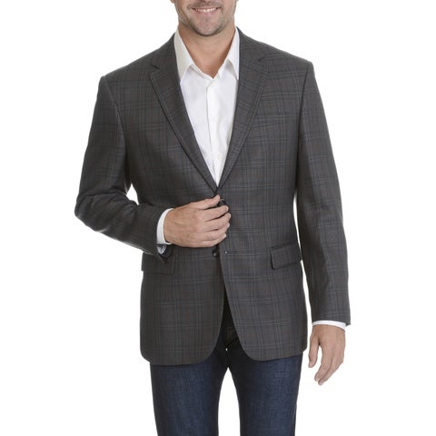 Prontomoda Europa Men's Grey Silk/ Wool/ Cashmere Plaid Blazer