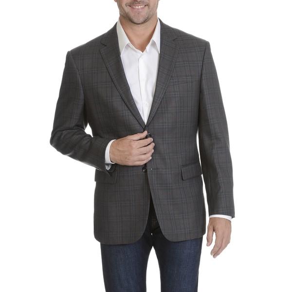 3c93f0691083f Shop Prontomoda Europa Men's Grey Silk/ Wool/ Cashmere Plaid Blazer ...