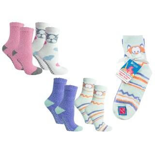 MinxNY Animal Faces Lavender Infused Slipper Socks, 4 Pair Pack