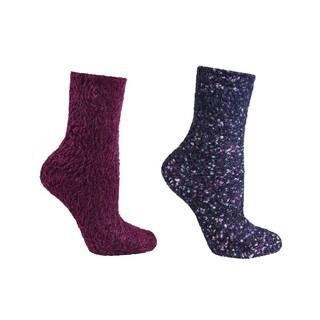 MinxNY Fuzzy Lavender Infused Slipper Socks, 2 Pair Pack