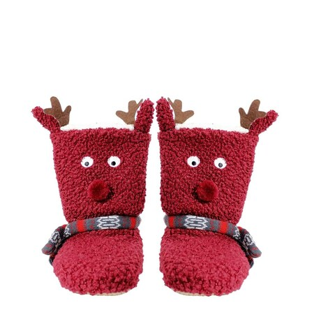 MinxNY Holiday Patterned Bootie Slippers with Cell Phone Pockets