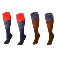 MinxNY Knee High Wool Socks with Boot Cuff, 2 Pair