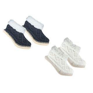 MinxNY Shea Butter Infused Sweater Slippers, 2 Pair