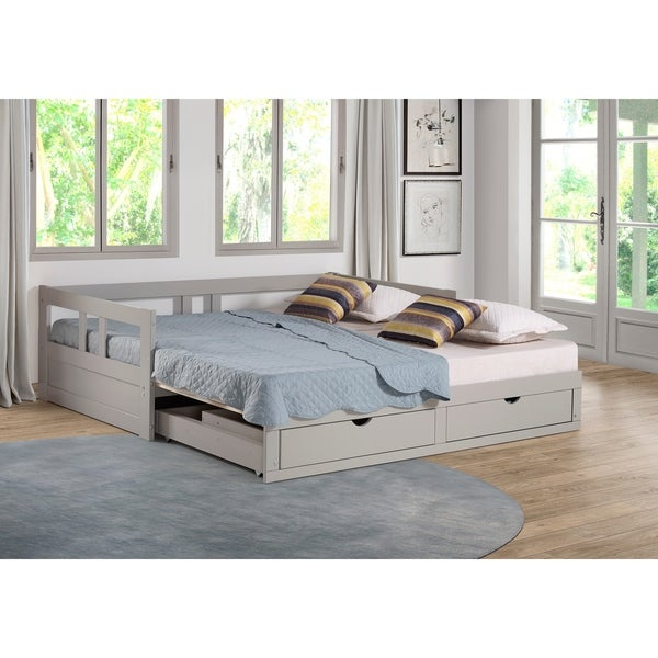 shop melody twin to king trundle daybed with storage drawers dove gray free shipping today. Black Bedroom Furniture Sets. Home Design Ideas