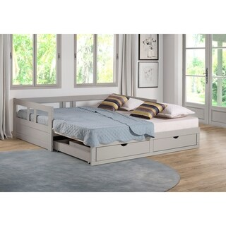 Melody Twin to King Trundle Daybed with Storage Drawers, Dove Gray