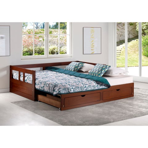 Melody Twin to King Trundle Daybed with Storage Drawers, Chestnut