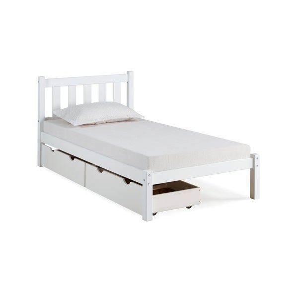 Shop Poppy Solid Wood Twin Bed With Storage Drawers White